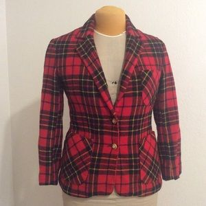 Vintage Plaid Wool Blazer, Size 8